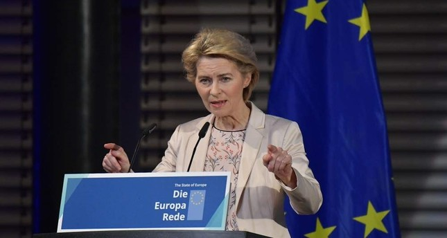 EU Commission president-elect Ursula von der Leyen makes a speech on eve of 30th anniversary of the fall of Berlin Wall on Nov. 8, 2019. (AFP Photo)