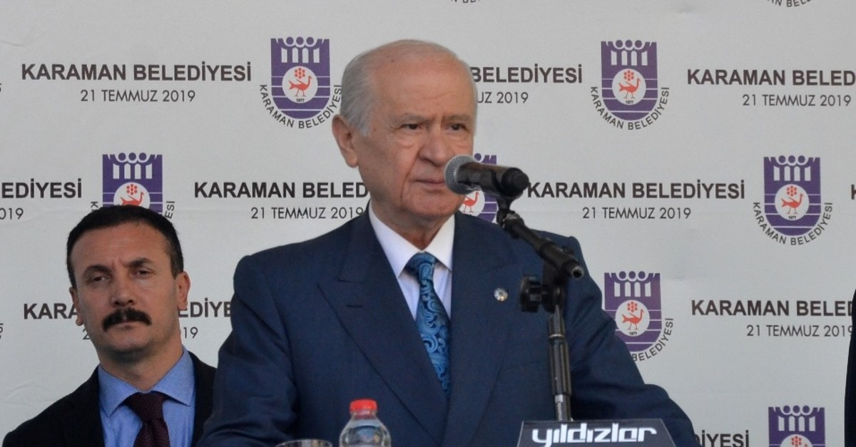 The Nationalist Movement Party (MHP) Chairman Devlet Bahu00e7eli addresses the crowd in central Anatoliau2019s Karaman, July 21, 2019.