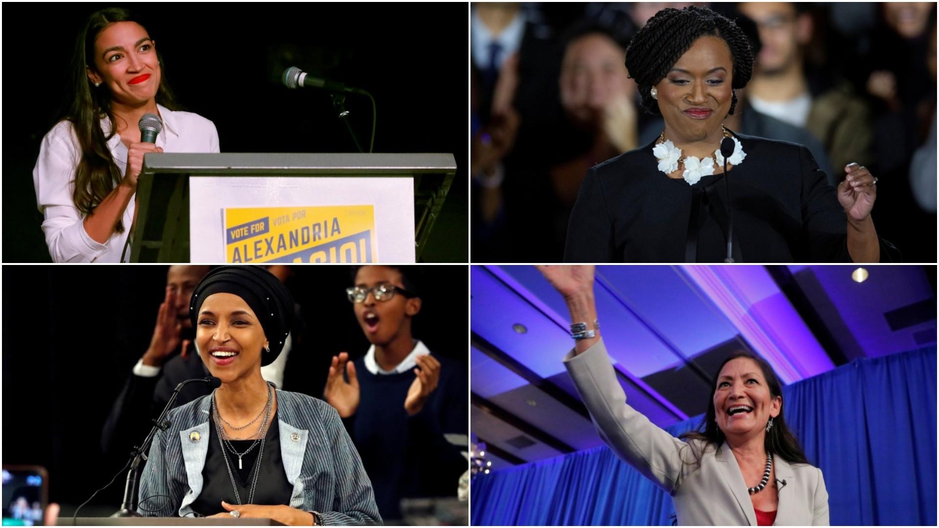 From top left, clockwise: Alexandria Ocasio-Cortez, Ayanna Pressley, Deb Haaland and Ilhan Omar. (REUTERS/EPA Photos)