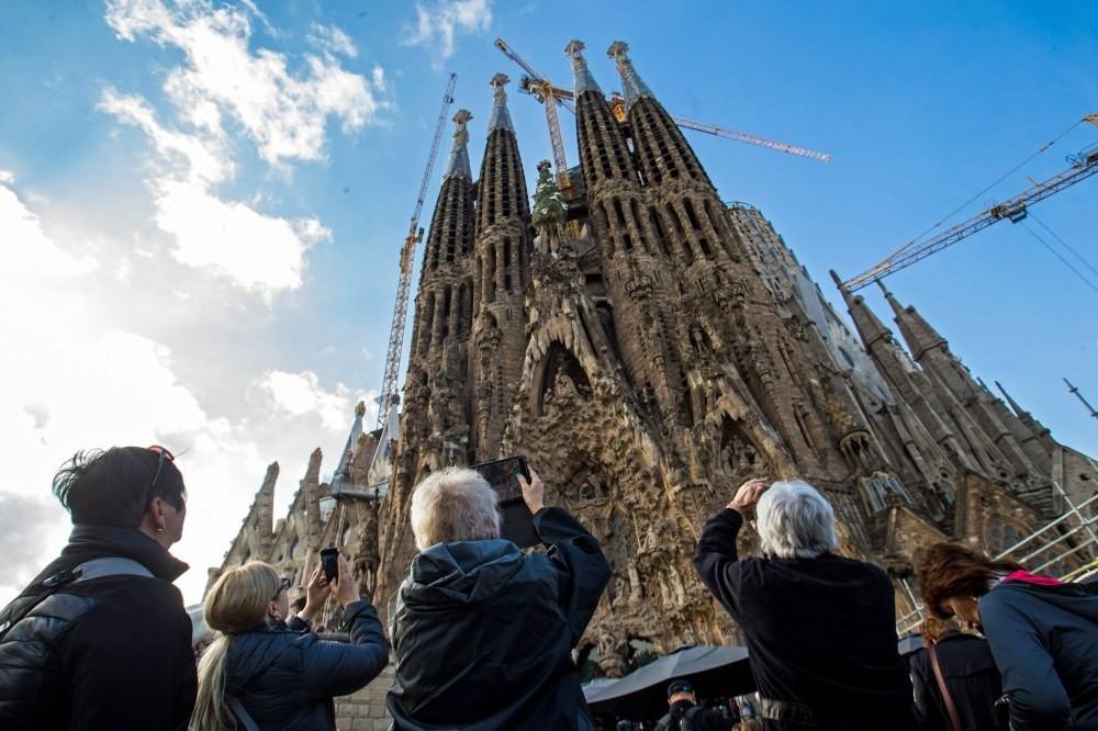 Tourists visit La Sagrada Familia basilica during a strike in Barcelona, Spain, Nov. 8.