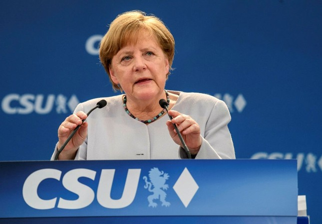 German Chancellor Angela Merkel delivers a speech during an election campaign of her Christian Democratic Union and the Christian Social Union in Munich, southern Germany, May 28.