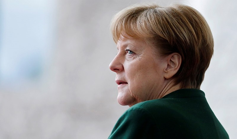 German Chancellor Angela Merkel awaits the arrival of the new European Parliament President Antonio Tajani at the Chancellery in Berlin, Germany, February 24, 2017. (Reuters Photo)