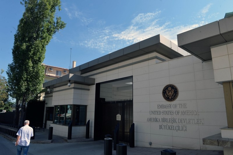 This file photo dated Aug. 8, 2018 shows the entrance of the existing U.S. embassy in u00c7ankaya district in capital Ankara. (Photo: Sabah)