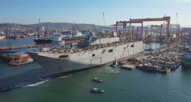 Turkey's largest-ever warship TCG Anadolu is ready for harbor tests at an Istanbul shipyard. DHA Photo