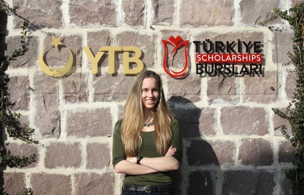 Amanda Rewerts poses in front of the Turkey Scholarship logo on Jan. 21, 2019. Rewerts says they don't have ,scholarships like this in the U.S.,