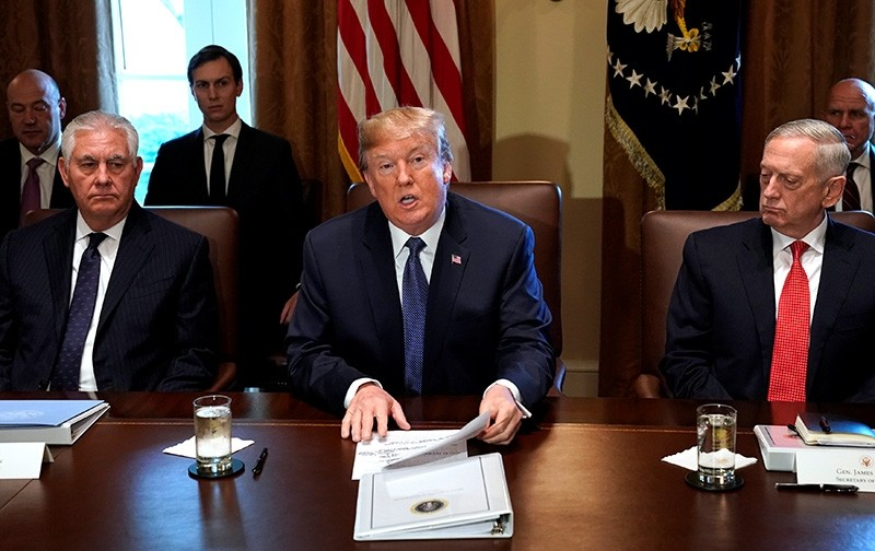 U.S. President Donald Trump speaks during a cabinet meeting, flanked by Secretary of State Rex Tillerson (L) and Secretary of Defense James Mattis (R), at the White House in Washington, U.S., Nov. 1, 2017 (Reuters Photo)
