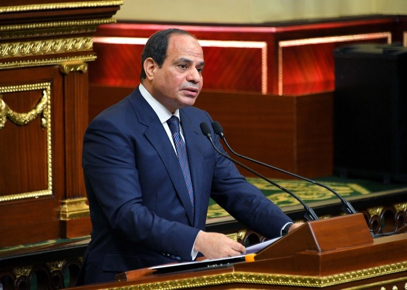 A handout picture released by the Egyptian Presidency on June 2, 2018 shows Egyptian President Abdel Fattah al-Sisi giving a speech at the parliament meeting hall in the capital Cairo. (AFP Photo)