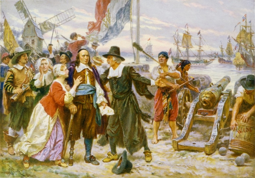 ,The Fall of New Amsterdam, by American painter Jean Leon Gerome Ferris, dating back to 1754.
