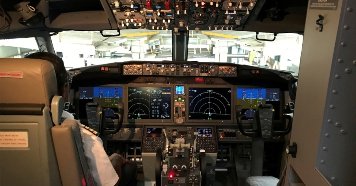 The cockpit of Jet Airways Boeing 737 Max 8 aircraft is pictured during its induction ceremony at the Chhatrapati Shivaji International airport in Mumbai, India, June 28, 2018. (Reuters Photo)