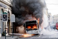 Passenger bus catches fire, explodes in heart of Rome