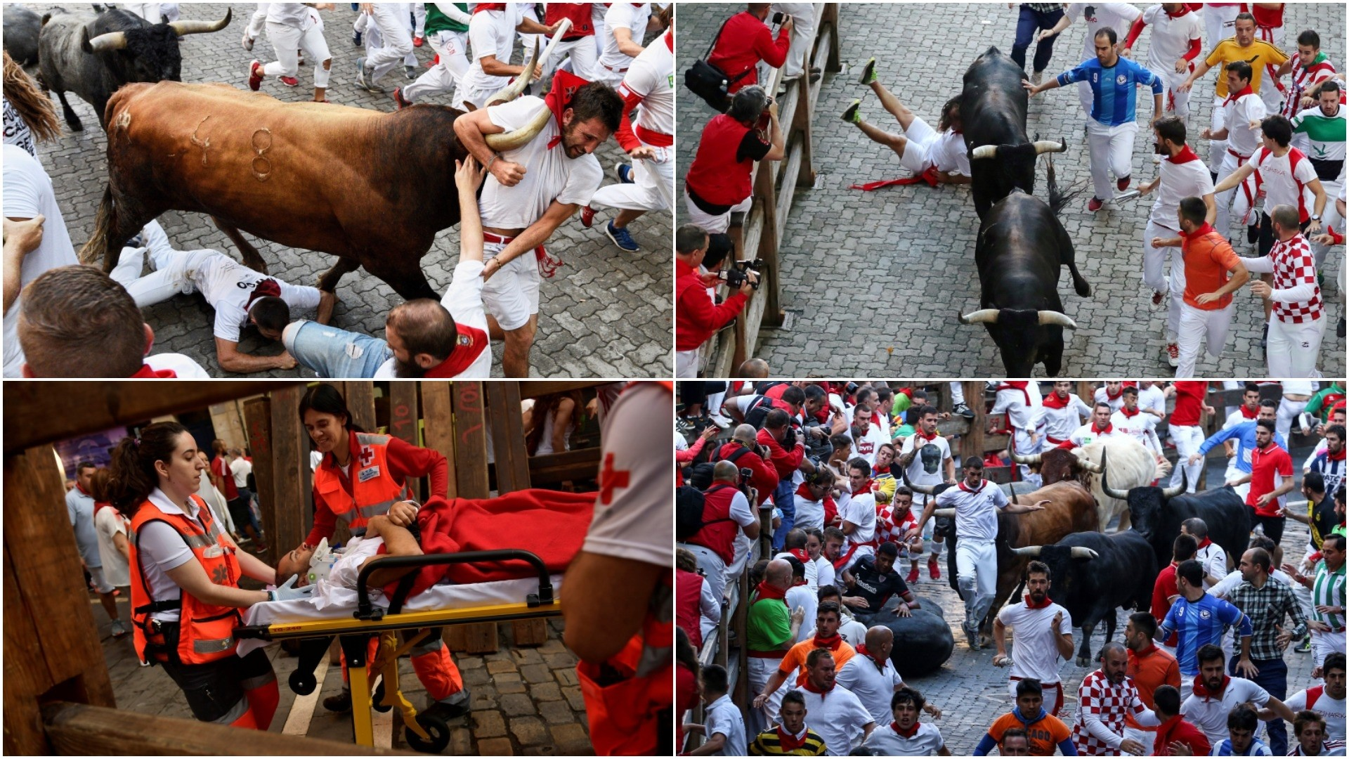 Several 'mozos' or runners are chased by some bulls during the 8th and final bull run of the Festival of San Fermin 2018 in Pamplona, July 14 2018. (clockwise: EPA/REUTERS/EPA/AP Photos)