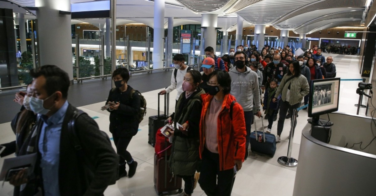 Passengers coming from China are subjected to thermal camera scanning at Istanbul Airport amid a deadly virus outbreak in the Asian country. (AA Photo)