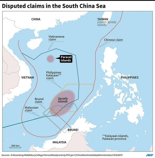 Map showing the sovereignty claims of countries bordering the South China Sea