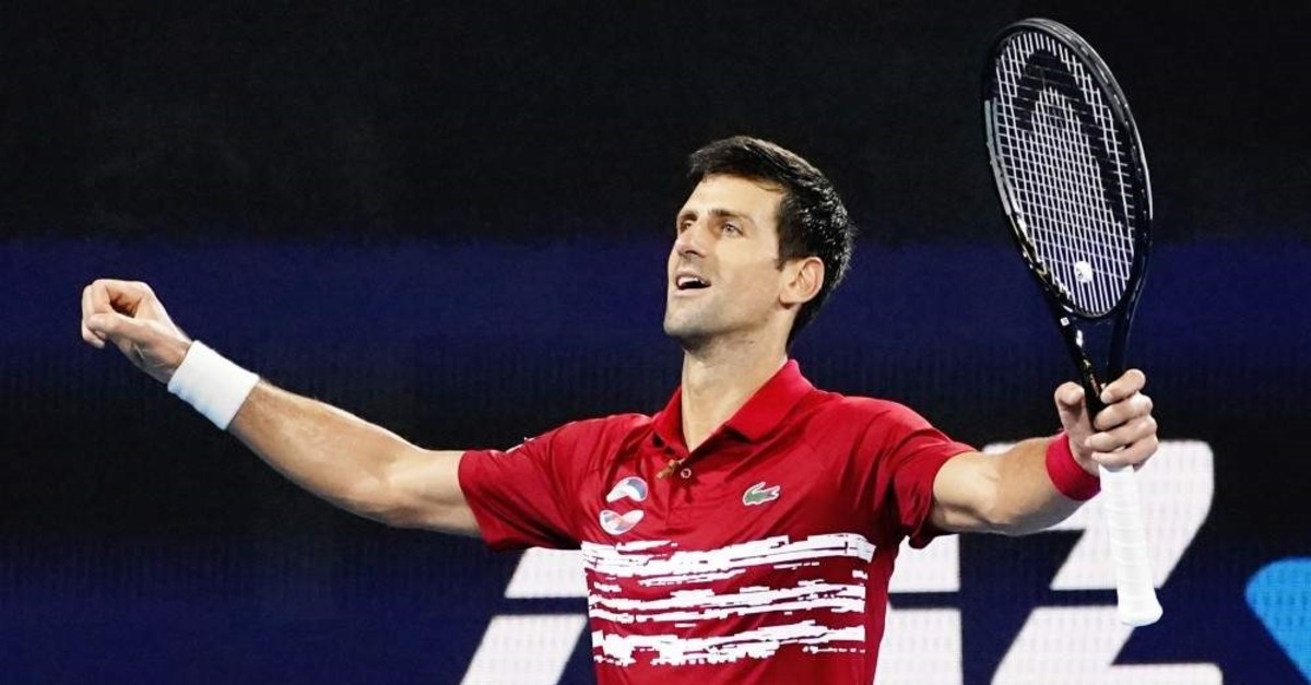 Djokovic celebrates his victory over Nadal during the final match of the ATP Cup in Sydney, Jan. 12, 2020. (EPA Photo)