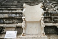 Ancient gryphon noble chair awaits visitors at its original spot in Turkey's Izmir