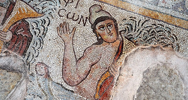 Mosaics found during excavations at the ancient city of Hadrianopolis in northern Turkey. AA Photo