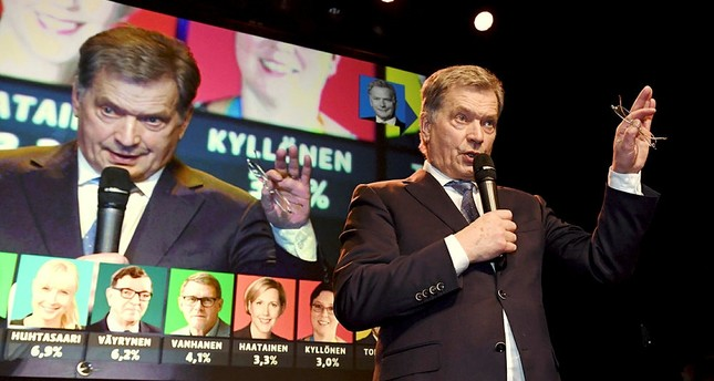 The independent presidential candidate and current president Sauli Niinisto greets and thanks his supporters at his election reception in in Helsinki, Finland, Sunday, Jan. 28, 2018.  (AP Photo)