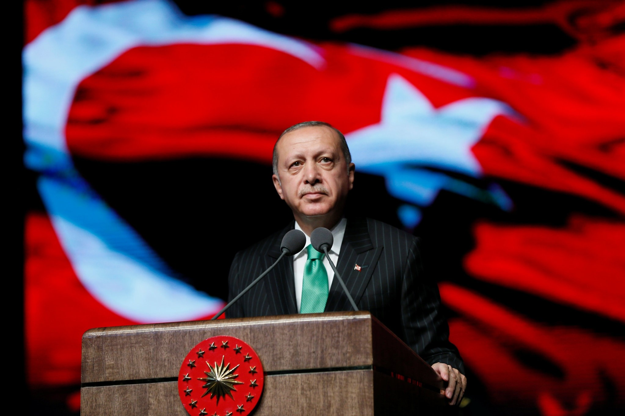 President Erdou011fan speaks at a ceremony to mark Veterans Day at the Presidential Complex in Ankara, Sept. 19.