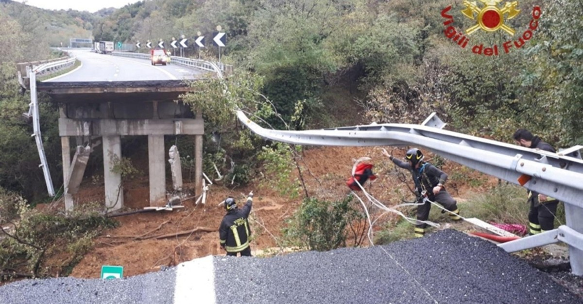 A portion of a motorway bridge linking Savona to Turin is seen after it collapsed due to a landslide near Savona, Italy, November 24, 2019. (Vigili del Fuoco/Handout via Reuters)