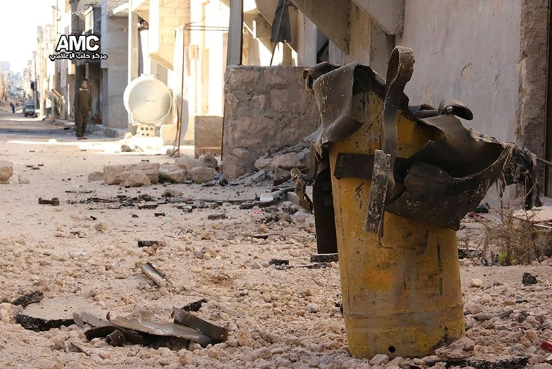 Handout photo provided to Reuters on February 13, 2017, by Human Rights Watch claiming to show remnant of a yellow gas cylinder found in Masaken Hanano, Aleppo, after a chlorine attack on November 18, 2016. (Reuters Photo)