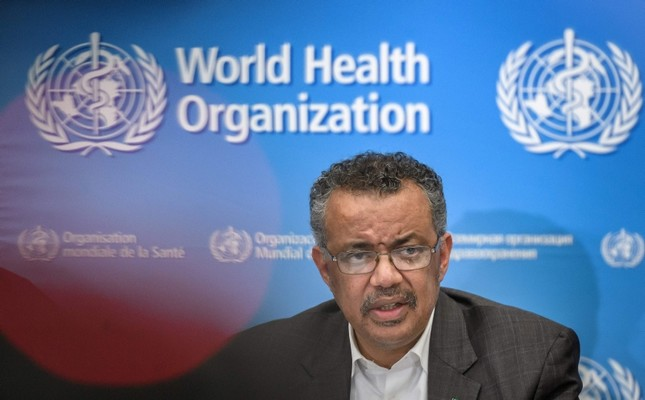 World Health Organization WHO Director-General Tedros Adhanom Ghebreyesus speaks during a press conference following a WHO Emergency committee AFP Photo