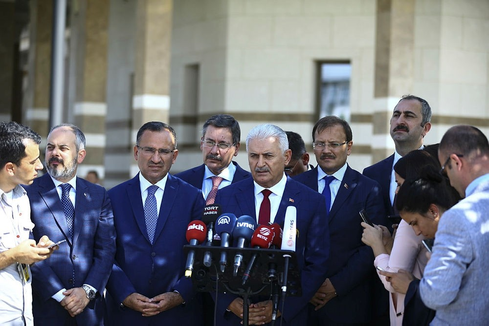 Prime Minister Binali Yu0131ldu0131ru0131m speaks to reporters outside the mosque in the Presidential Complex in Ankara, Turkey on Friday, September 15, 2017. (AA Photo)