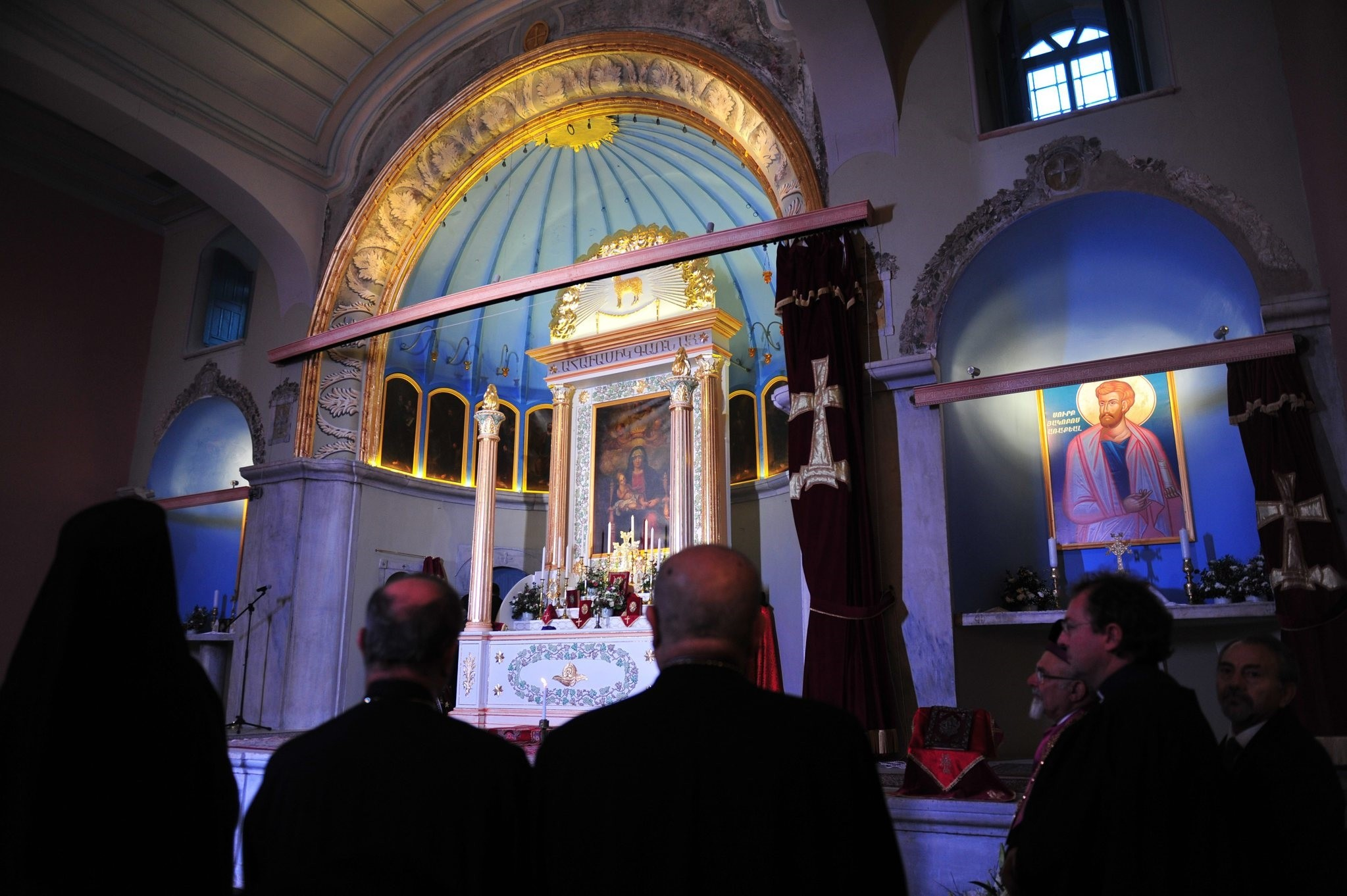 Believers pray during a mass at the Surpu00a0Vortvotsu00a0Vorodman, an Armenianu00a0Churchu00a0in the Kumpapu0131 district of Istanbul.