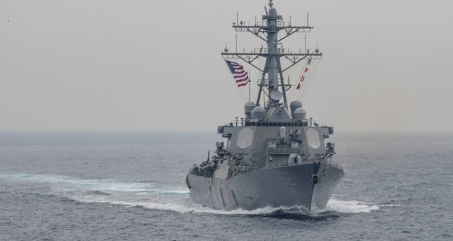 The Arleigh Burke-class guided-missile destroyer USS Fitzgerald sails in formation during a bilateral exercise between USS Carl Vinson and USS Ronald Reagan in this June 1, 2017 handout photo. (REUTERS Photo)