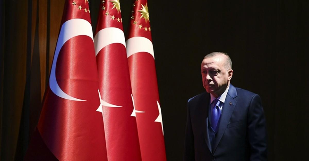 President Recep Tayyip Erdogan arrives to deliver a speech at an event in Ankara, Turkey, Monday, Dec. 30, 2019 (AP Photo)