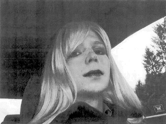 This undated file photo courtesy of the US Army shows a photo of Bradley Manning in wig and make-up.