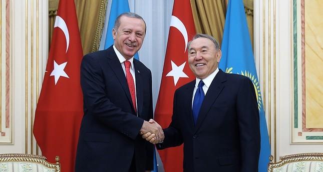 Turkish President Recep Tayyip Erdoğan with Kazakh counterpart Nursultan Nazarbayev in September 2017 in Astana, Kazakhstan. (AA Photo)