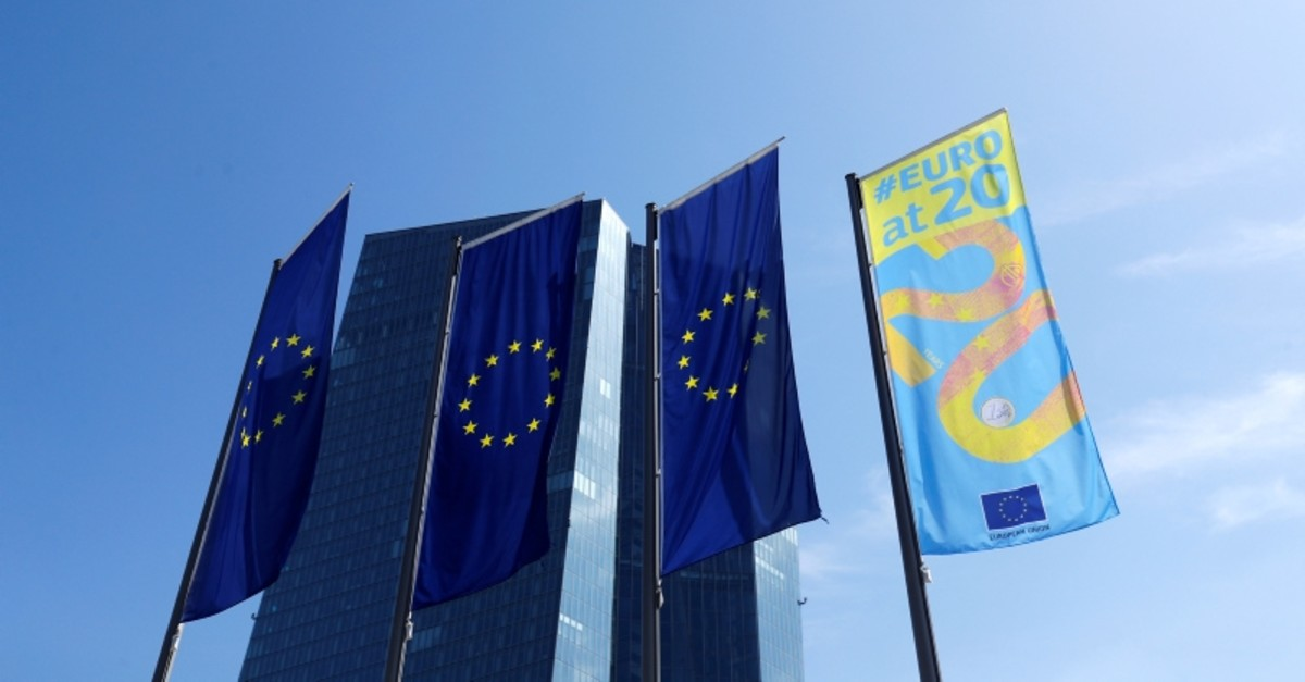 Flags are pictures in front of the European Central Bank (ECB) headquarters in Frankfurt, Germany, July 25, 2019 (Reuters Photo)