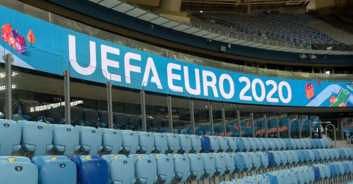 A photo of Gazprom Arena, one of the venues to host Euro 2020 matches, in St. Petersburg, Russia. (AFP Photo)