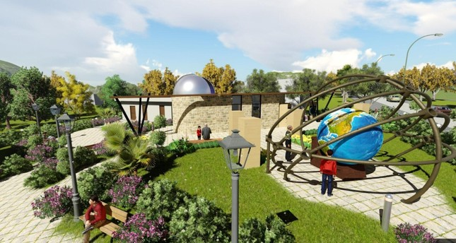 In the garden of the observatory, whose dome will resemble a space shuttle, a huge spherical world model will be made.