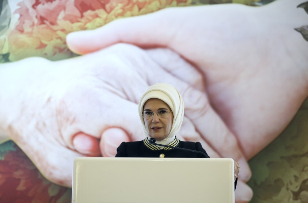 First Lady Emine Erdou011fan delivers a speech ,Rights of the Elderly for Elderly Welfare, conference in Ankara.