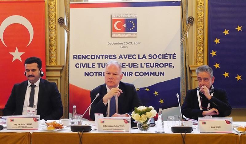 Turkey's Ambassador to EU Selim Yenel (center) speaks at the 5th Turkey-EU Civil Society Meeting in Paris, France, Dec. 20, 2017 (AA Photo)