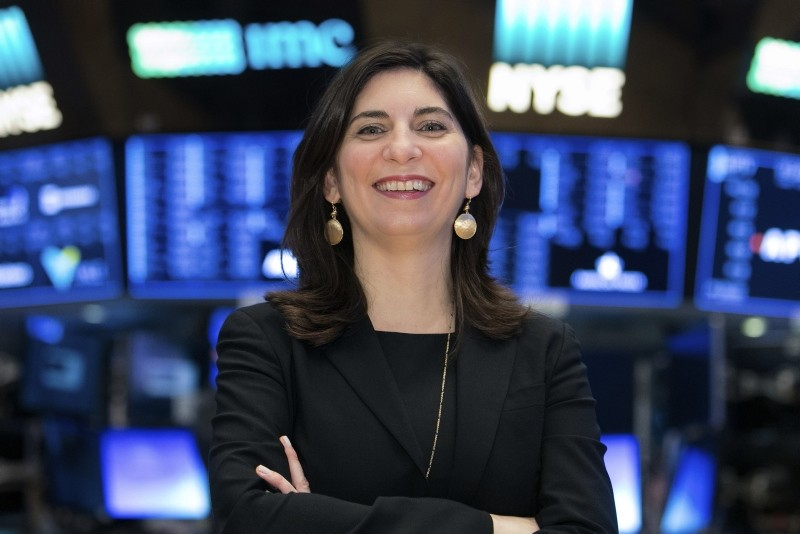 In this undated photo provided by the New York Stock Exchange, Stacey Cunningham poses for a photo at the Stock Exchange in New York. (Alyssa Ringler/NYSE via AP)