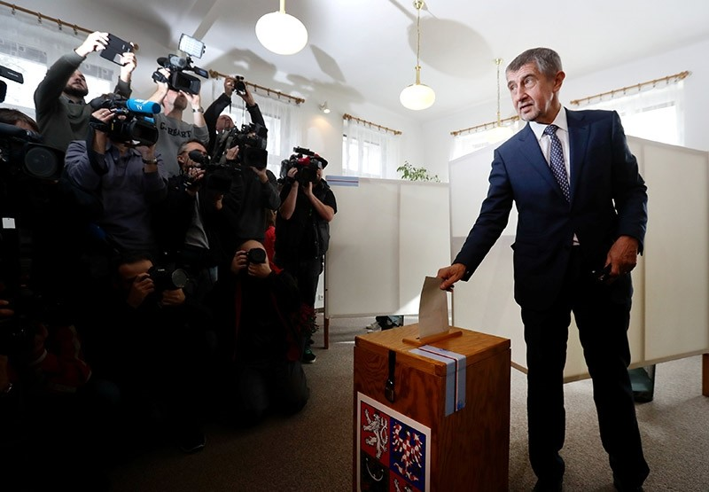 The leader of ANO party Andrej Babis casts his vote in parliamentary elections in Prague, Czech Republic October 20, 2017 (Reuters Photo)