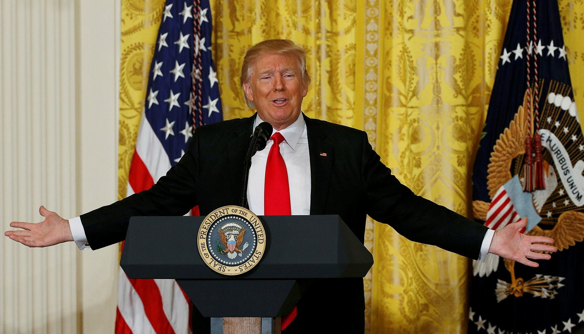 U.S. President Donald Trump reacts to a question during a news conference at the White House in Washington, D.C., Feb. 16.
