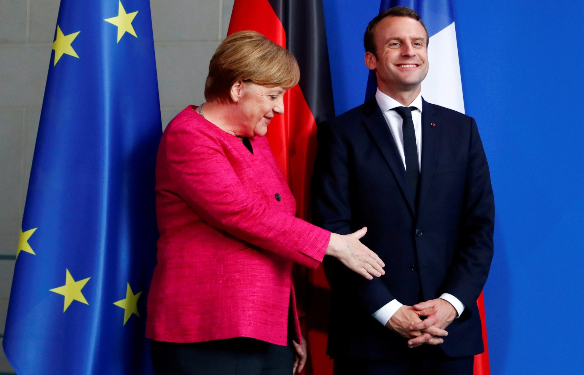 German Chancellor Angela Merkel and French President Emmanuel Macron after a news conference at the Chancellery in Berlin, May15.