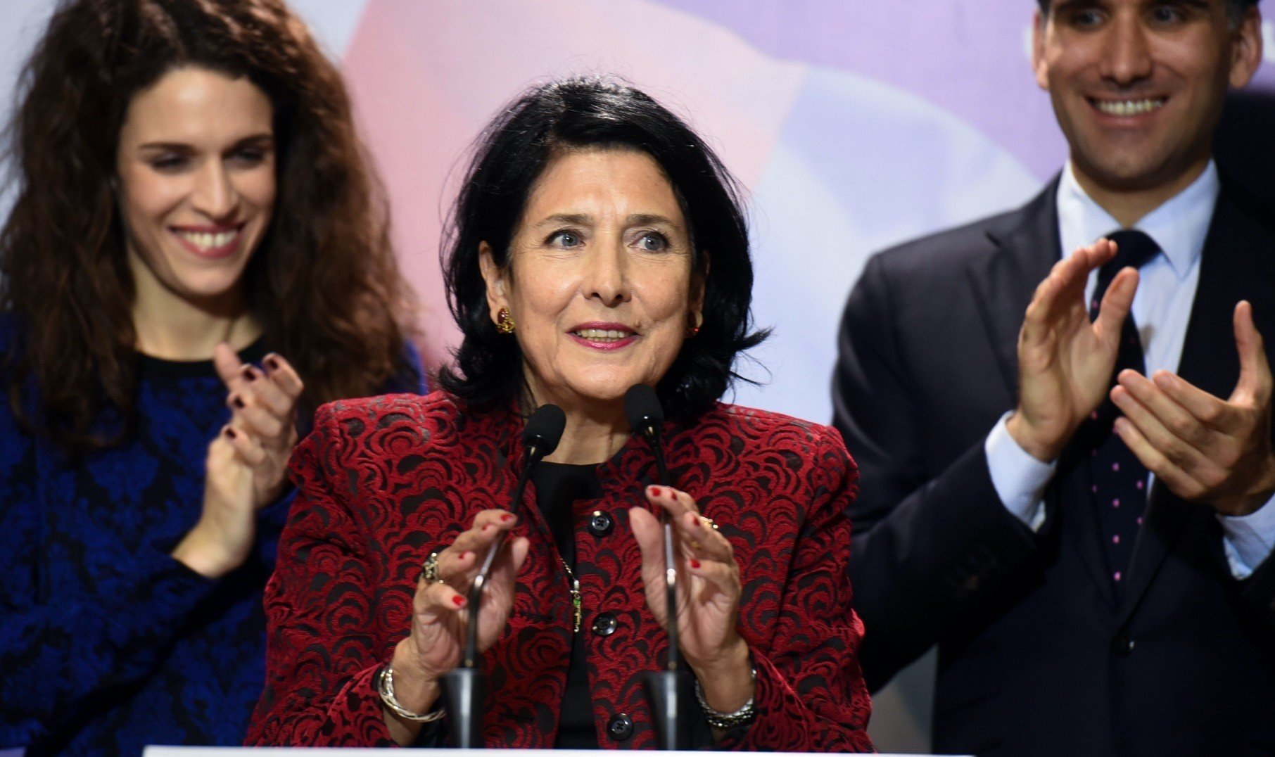 Before being elected Georgiau2019s first female president Salome Zurabishvili, addresses the media in Tbilisi during her election campaign, Nov. 28, 2018.