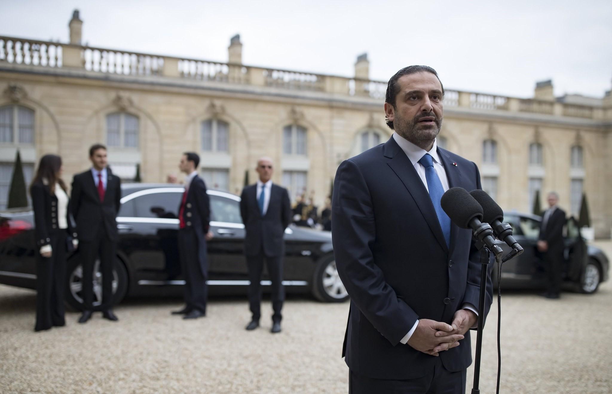 Lebanese Prime Minister Saad Hariri speaks to media after meeting French President Emmanuel Macron at the Elysee Palace in Paris, France, 18 November 2017. (EPA Photo)