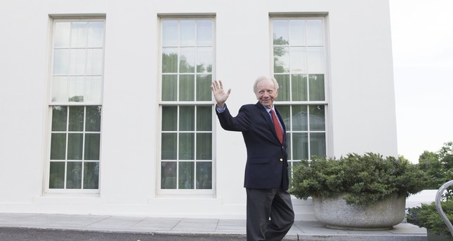 Former Senator from Connecticut Joe Lieberman waves after walking out of the West Wing of the White House following a meeting with US President Donald J. Trump. (EPA Photo)