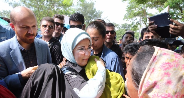 Emine Erdoğan hugs a refugee woman during a visit to a refugee camp for Rohingya Muslims in Cox's Bazaar, Bangladesh in 2017. The first lady was hailed for leading humanitarian efforts for the displaced community.