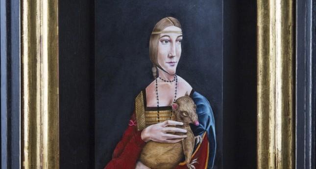 "Mehmet Sinan Kuran – Recep Serbest, ""Lady with an ermine"", 46x35 cm, Oil paint on wood."