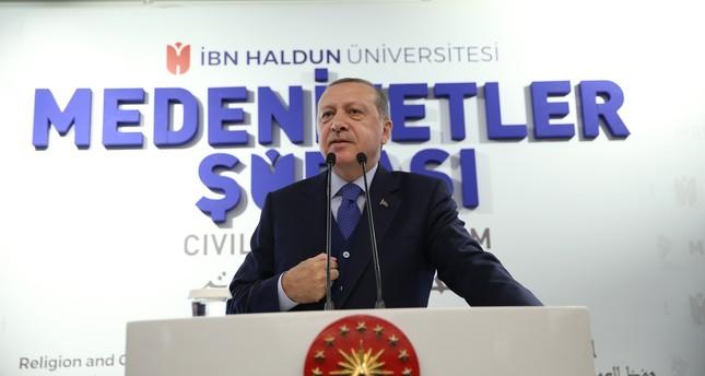 Erdoğan speaks at the Civilizations Forum at Ibn Haldun University in Istanbul on Oct. 21, 2017. (AAPhoto)