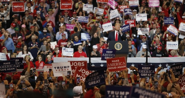U.S. President Donald Trump speaks to supporters during a rally at the I-X Center in Cleveland, Ohio, Nov. 5.