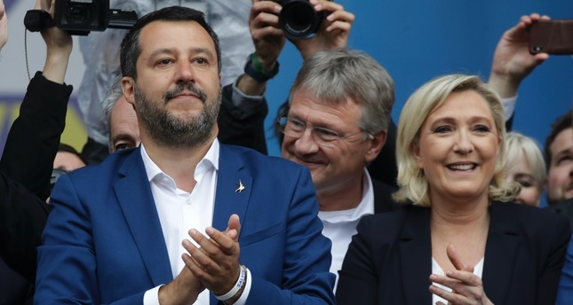 Matteo Salvini, the head of Italy's right-wing League party and Marine Le Pen, leader of France's National Rally, attend a rally, Milan, May 18, 2019.