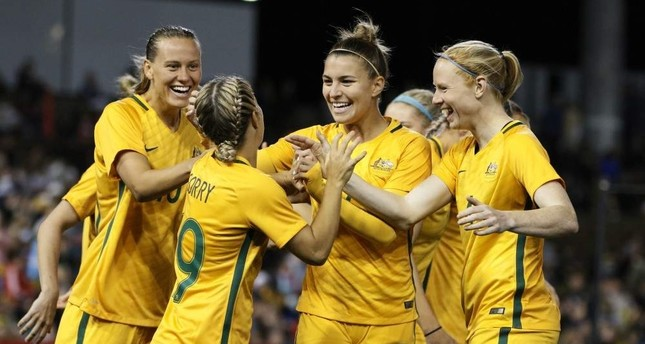 Australia's national team players celebrate during a friendly match between the Australian Matildas and Brazil at McDonald Jones Stadium in Newcastle, Australia, Sept. 19, 2017. (EPA Photo)