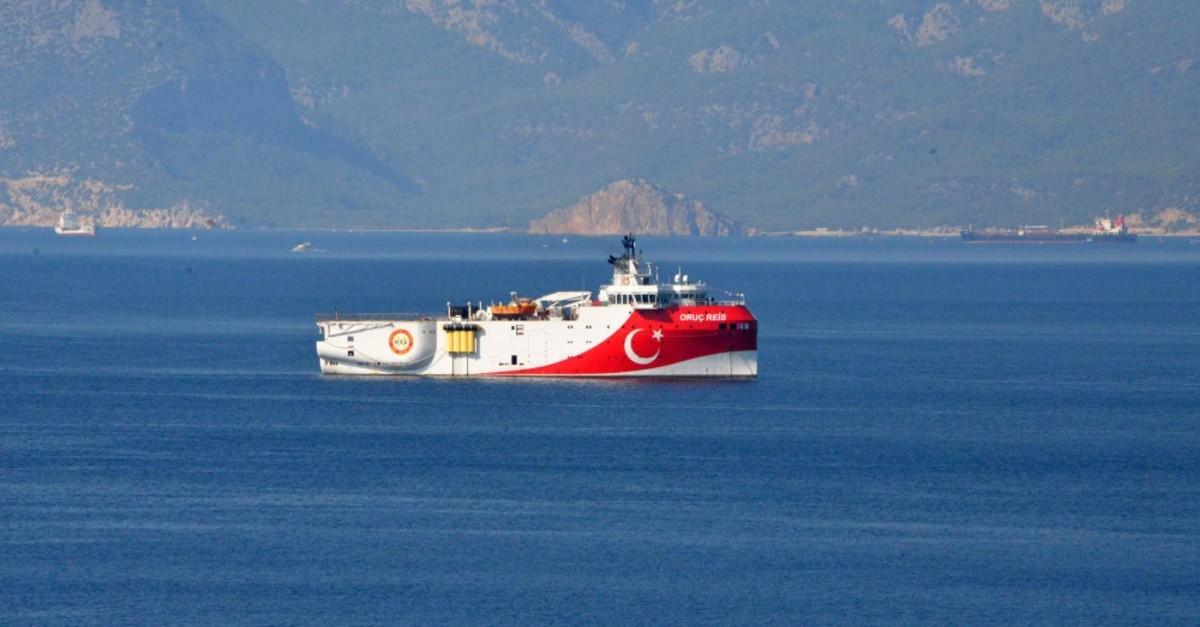 Turkey's seismic exploration vessel MTA Oruu00e7 Reis seen off the shore of Antalya, Aug. 30, 2019.